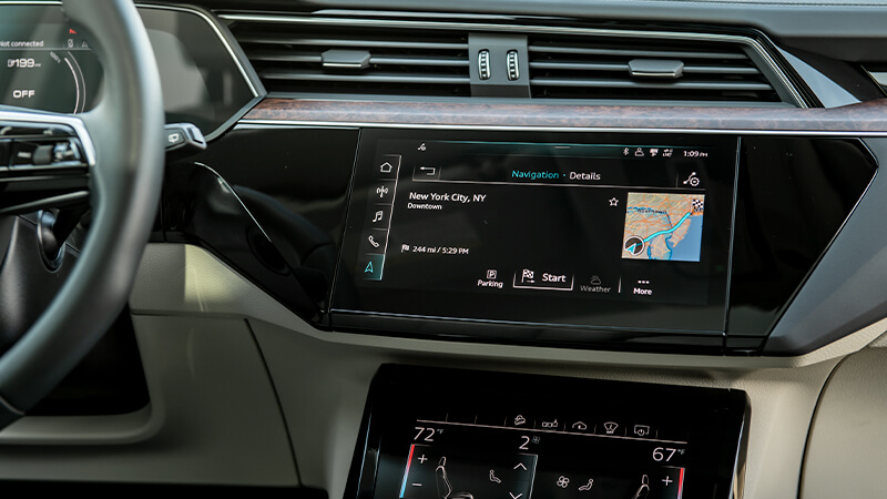 the screen in the front seat of a car.