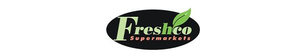 Freshco logo. Green logo reads freshco. With a green leaf.