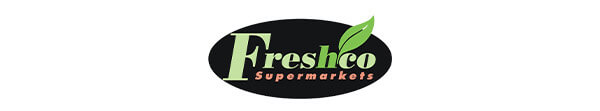 Freshco logo. Green logo reads freshco. With a green leaf.