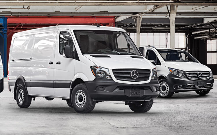 Mercedes-Benz Vans in an empty warehouse
